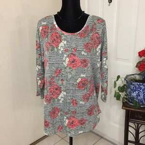 Absolutely Famous Gingham & Floral Top (size XL)